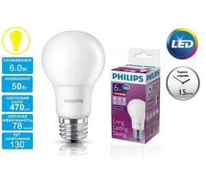 PHILIPS LEDBULB E27 6-50W 230V 3000K A60/PF (929001162007)